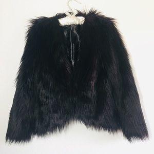 H&M Jackets & Coats - H&M Purple/Black Faux Fur Cropped Jacket Shaggy